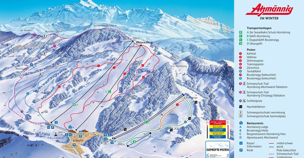Piste map Ski resort Atzmännig
