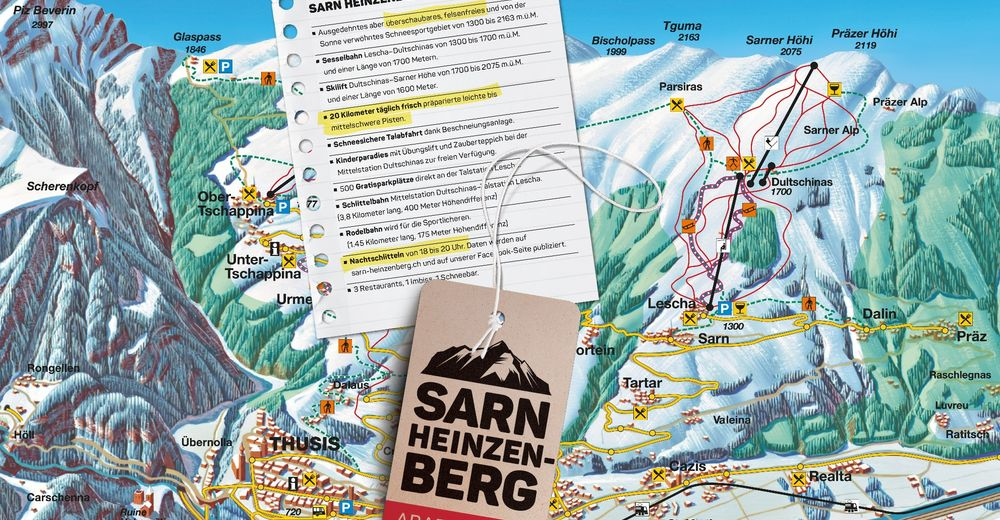 Piste map Ski resort Sarn - Heinzenberg