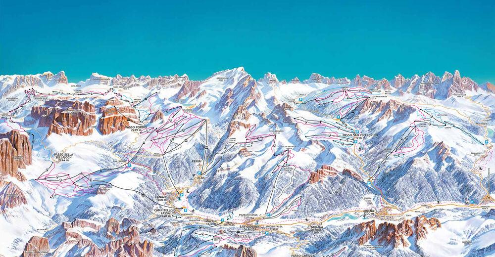 Planul pistelor Zonă de schi Campitello - Col Rodella / Val di Fassa