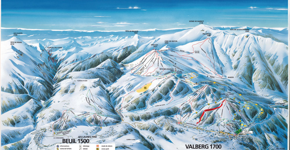 Piste map Ski resort Beuil Les Launes - Beuil/Valberg