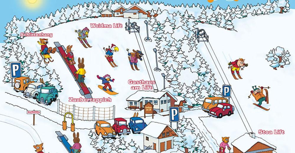 Plan skijaških staza Skijaško područje Hauzenberg - Geiersberg