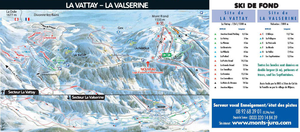 Loipenplan Monts Jura - La Vattay / Valserine