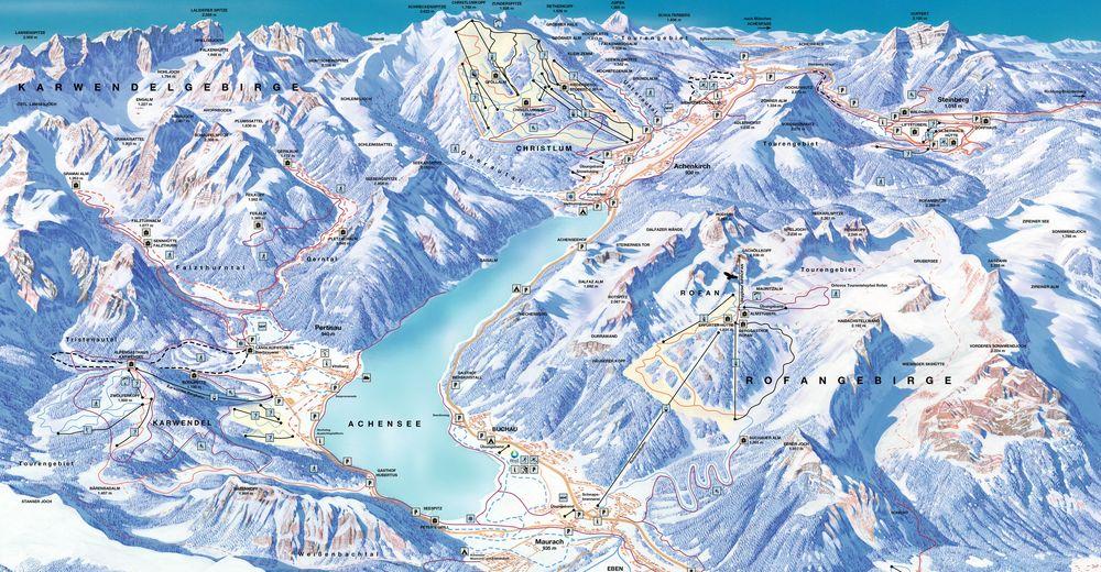 Plan skijaških staza Skijaško područje Astenberg / Wiesing - Achensee