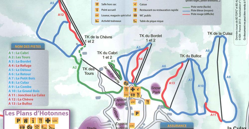 Pistenplan Skigebiet Le Plateau de Retord