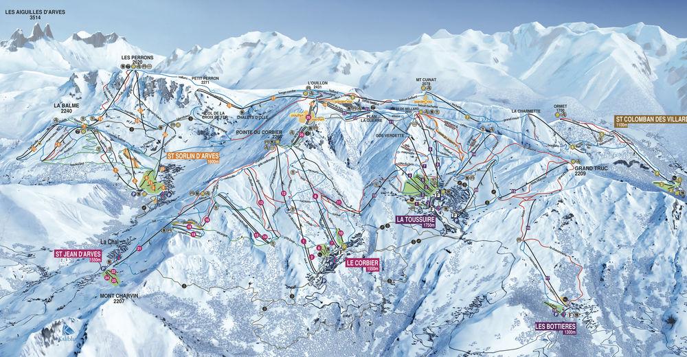 Pistenplan Skigebiet La Toussuire - Les Sybelles