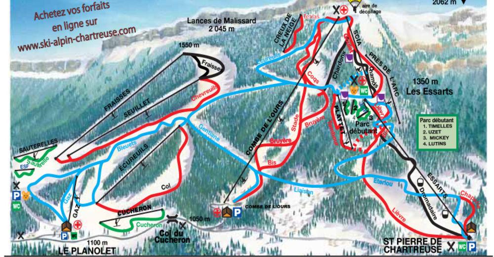 Pisteplan Skigebied Saint Pierre de Chartreuse - Le Planolet