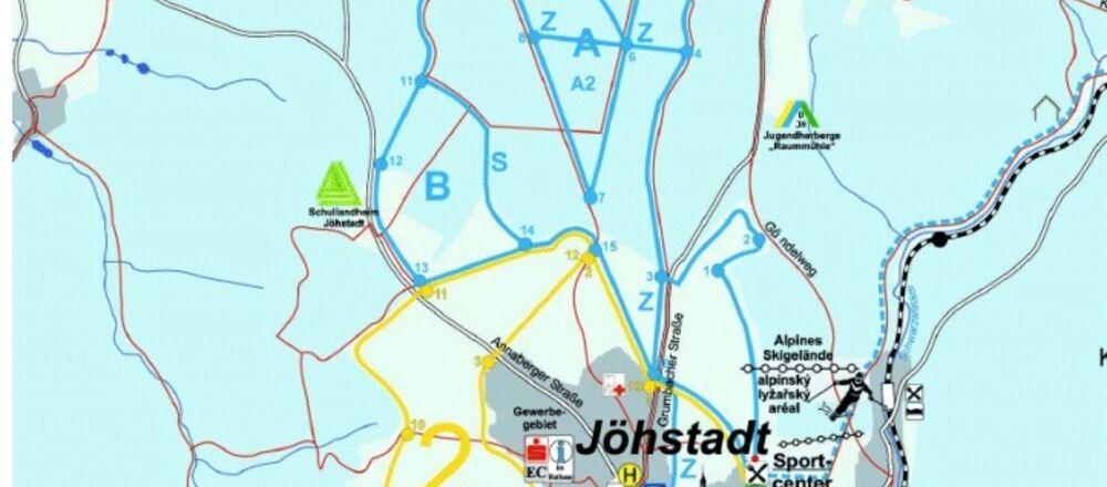 "Loipenplan Loipennetz Jöhstadt / ""Alte Henne"" und ""Windpark Jöhstadt"""