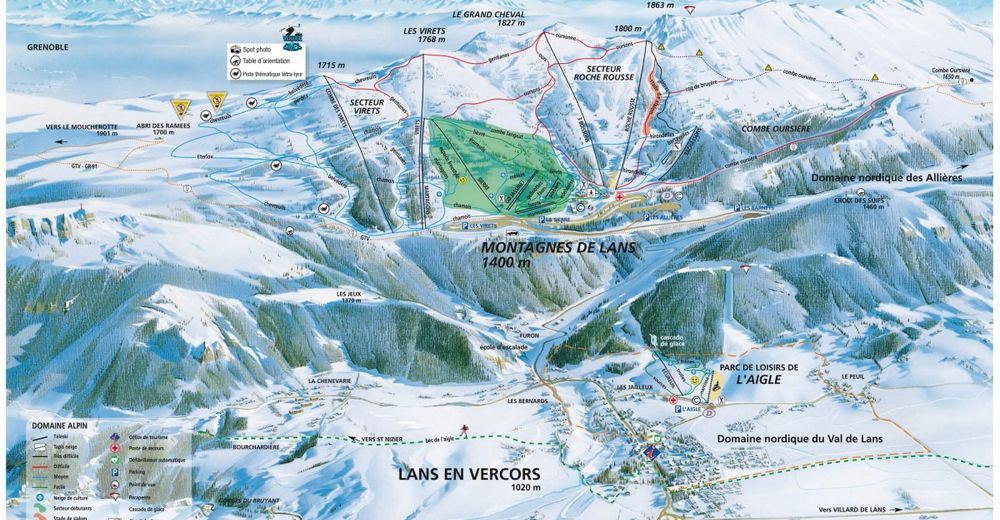 Pistenplan Skigebiet Lans en Vercors