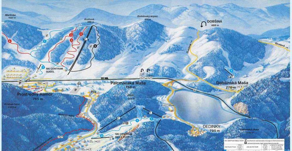 Pistplan Skidområde Mlynky - Dedinky - Gugel / Biele Vody