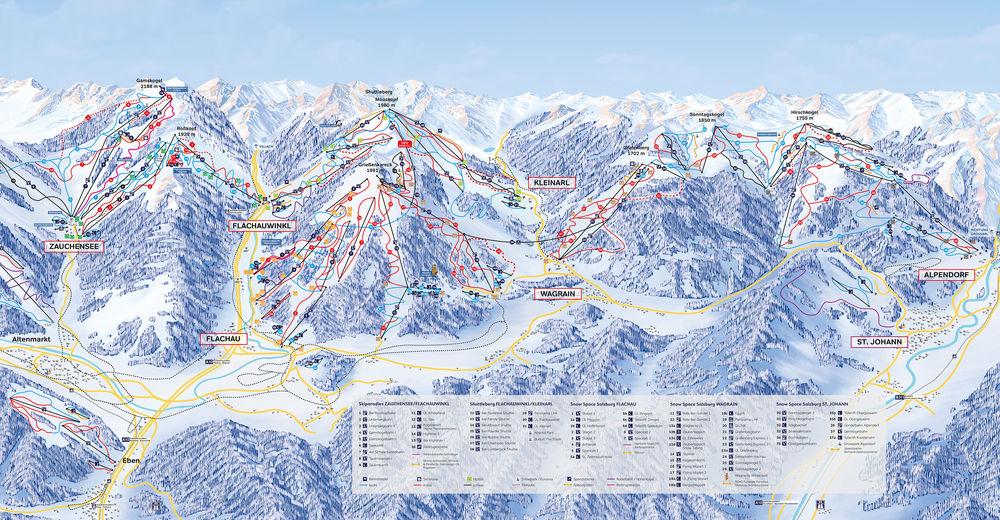 План лыжни Лыжный район St. Johann - Alpendorf - Snow Space Salzburg - Ski amade