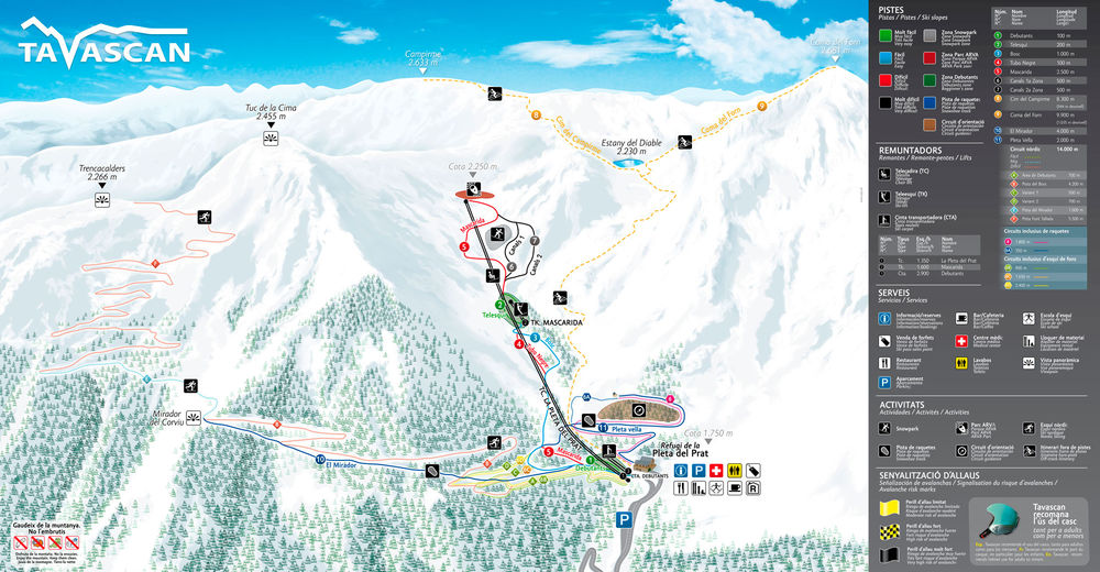 Piste map Ski resort Tavascán / Pleta del Prat