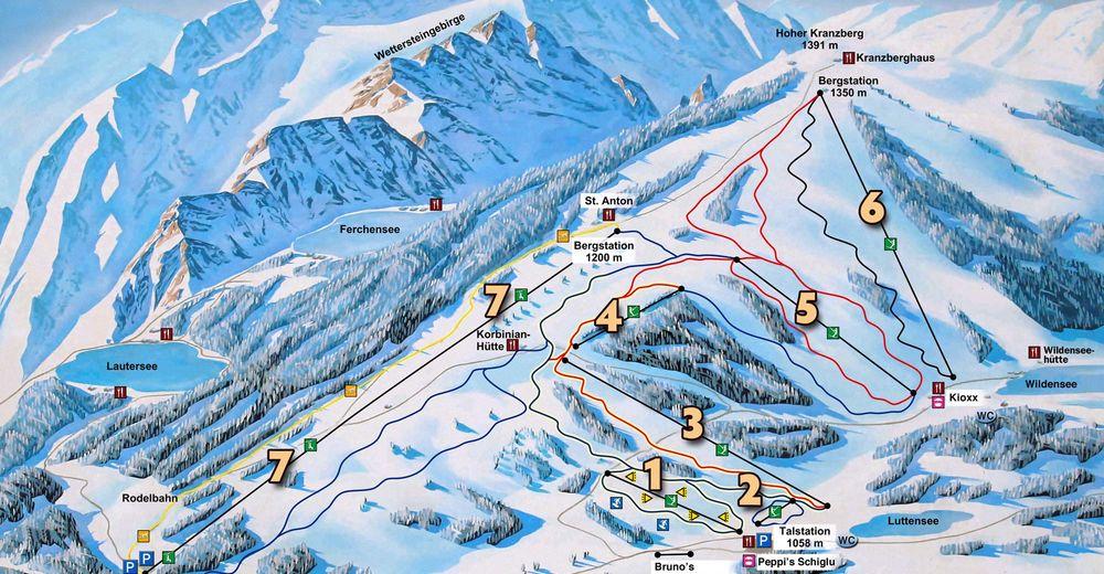 Pistenplan Skigebiet Mittenwald - Kranzberg