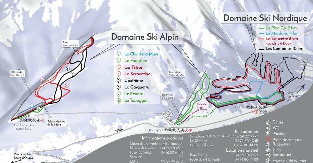 Plan skijaških staza Skijaško područje Col d'Ornon