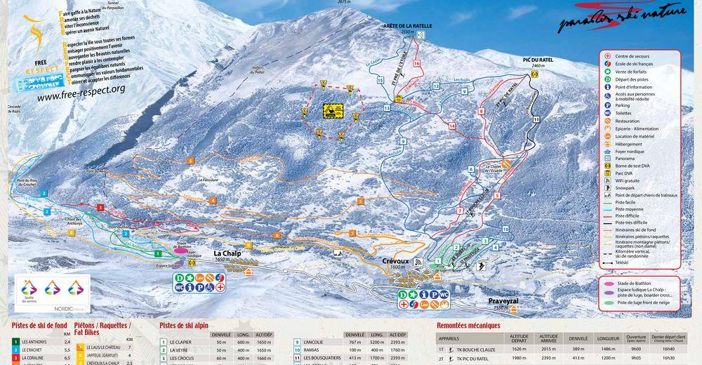 Plan skijaških staza Skijaško područje Crévoux
