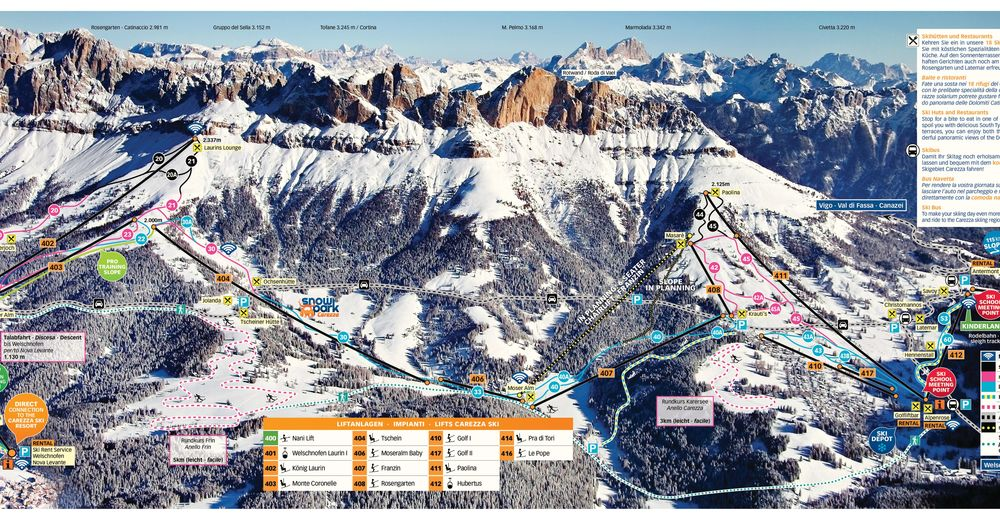 Piste map Ski resort Carezza - Karersee - Rosengarten