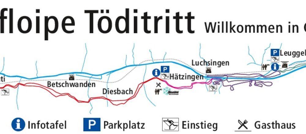 Loipenplan Glarnerland Töditritt / Schwanden - Linthal