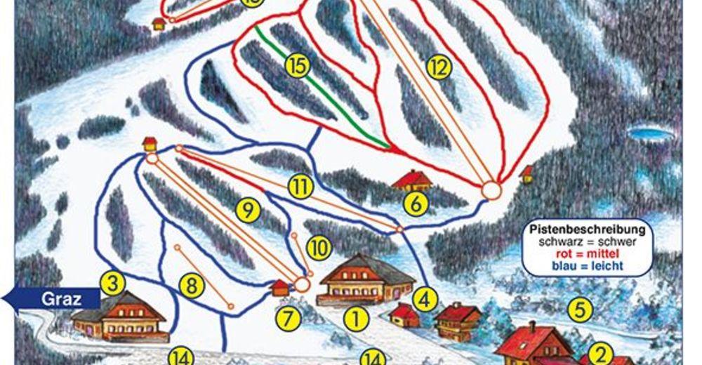 Pistplan Skidområde Weinebene