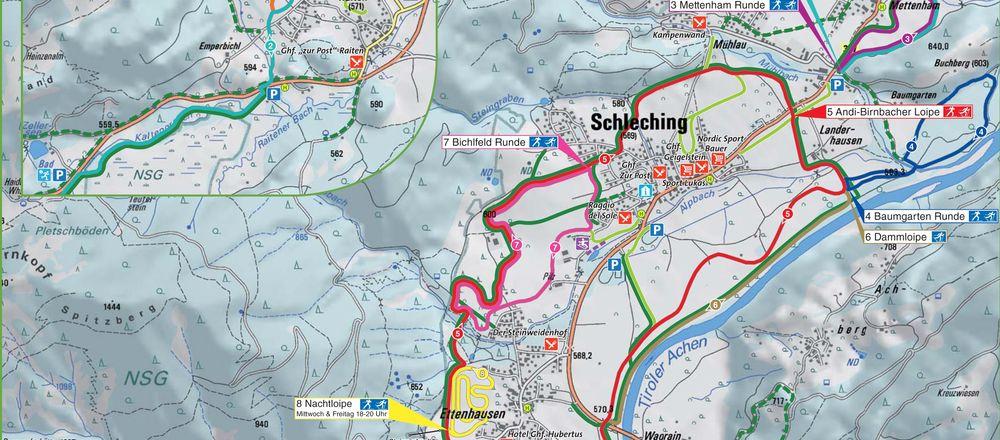 Loipenplan Achental / Schleching - Unterwössen-Oberwössen - Marquartstein