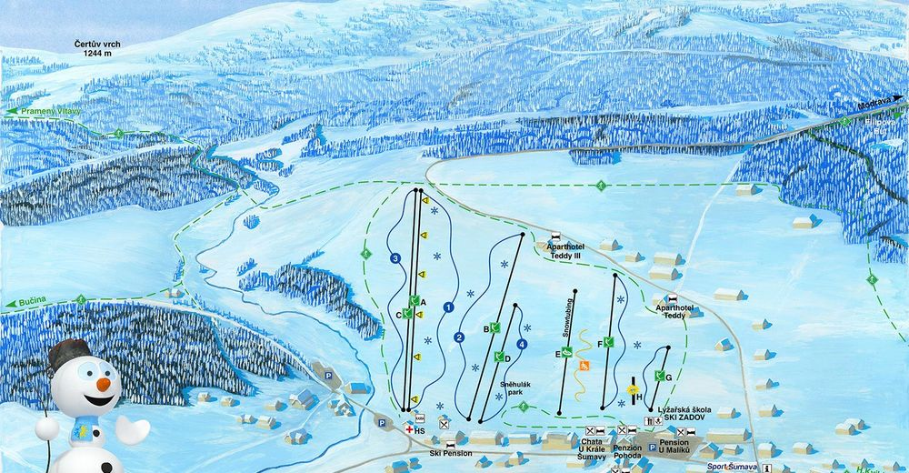 Piste map Ski resort Kvilda