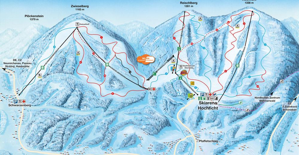Mappa delle piste Comparto sciistico Hochficht - Böhmerwald