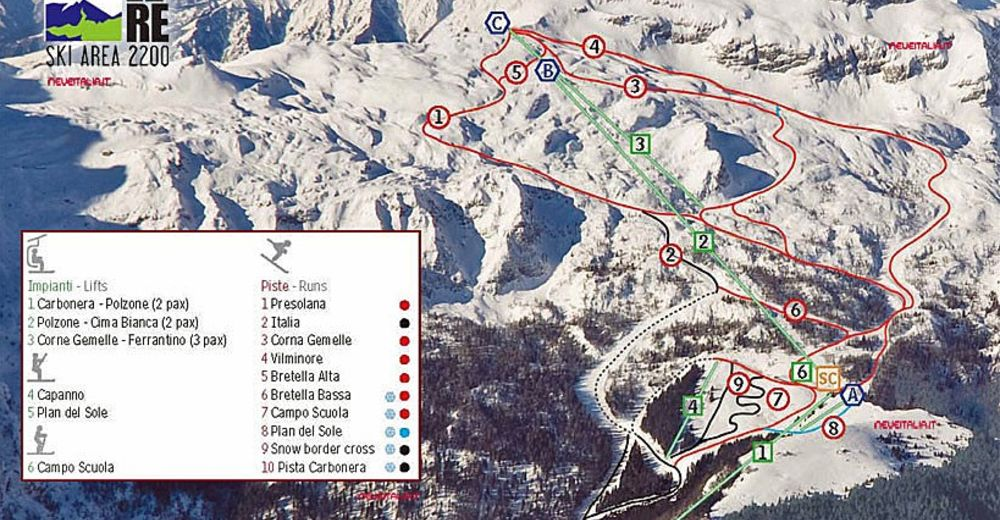Piste map Ski resort Colere