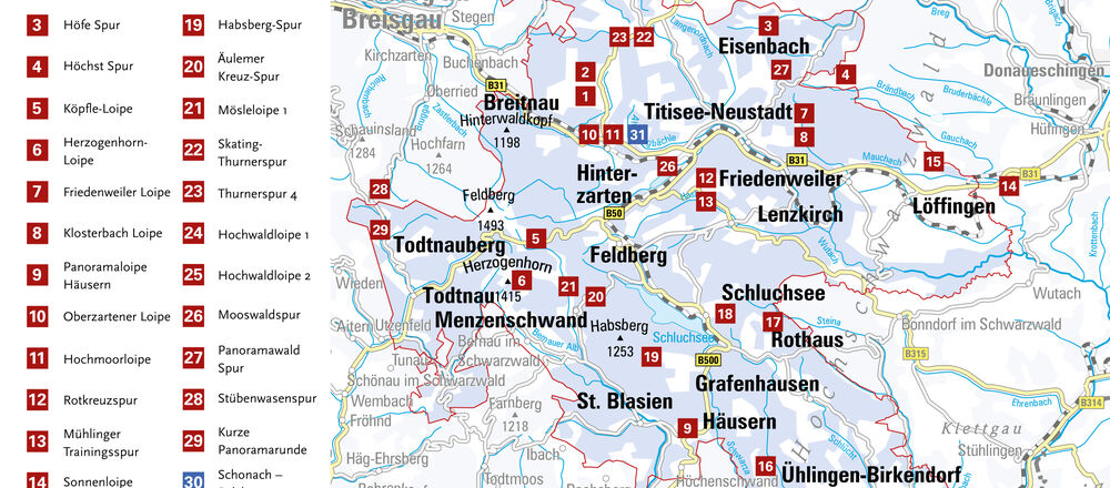 Loipenplan Liftverbund Feldberg