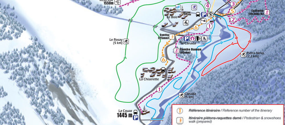 Loipenplan Champagny-en-Vanoise
