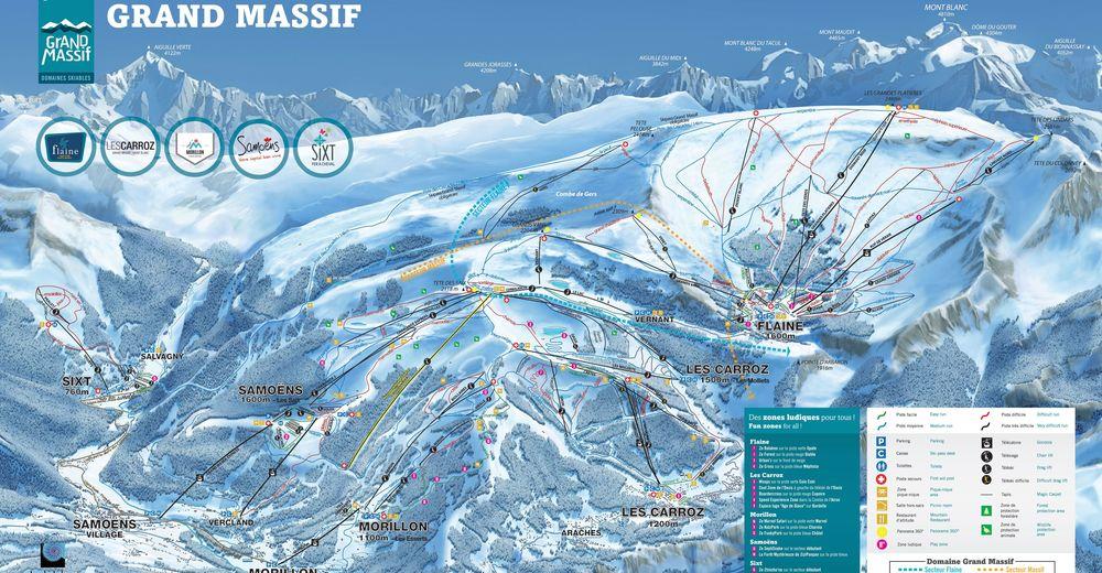 Planul pistelor Zonă de schi Samoëns - Sixt - Le Grand Massif