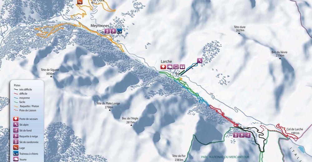 Plan de piste Station de ski Larche