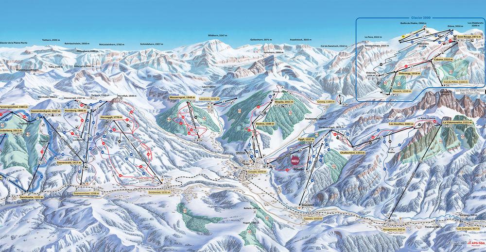 Bakkeoversikt Skiområde Gstaad