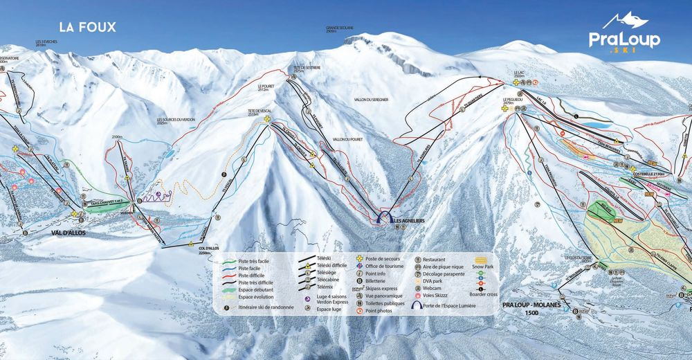 Pistenplan Skigebiet Pra Loup / Espace Lumière