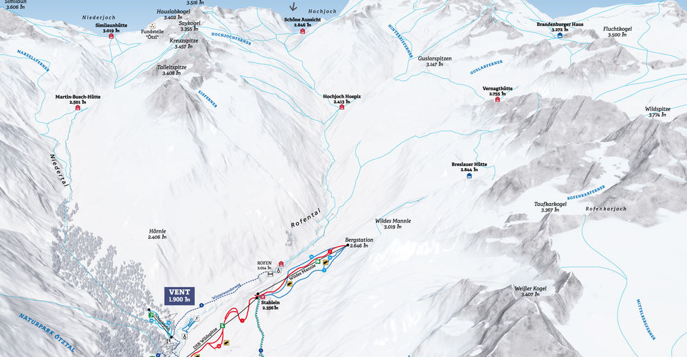 Piste map Ski resort Vent