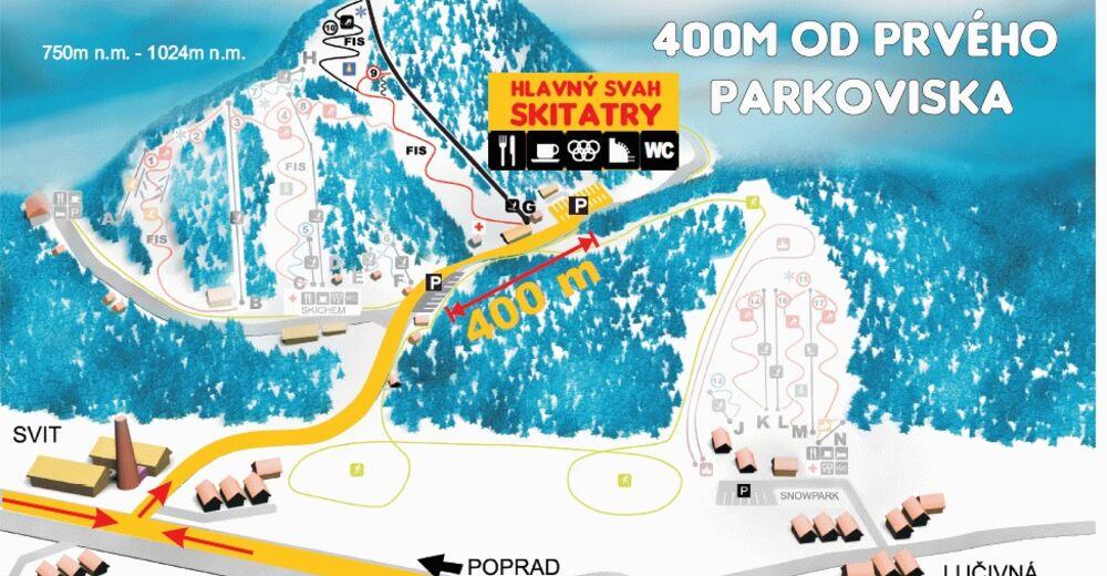 Planul pistelor Zonă de schi Tatrarekrea - Lopušná dolina