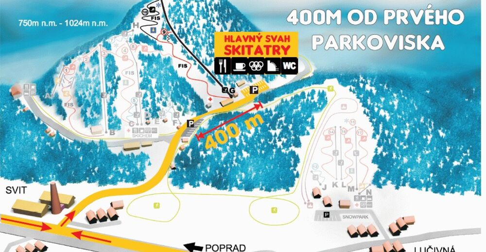 Pistenplan Skigebiet Tatrarekrea - Lopušná dolina