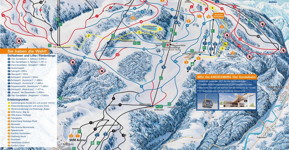 Pistenplan Skigebiet Kreischberg / Murau