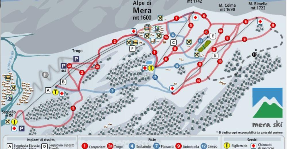 Plan skijaških staza Skijaško područje Scopello - Alpe di Mera / Monterosa