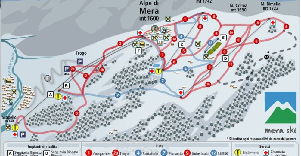 Pistenplan Skigebiet Scopello - Alpe di Mera / Monterosa