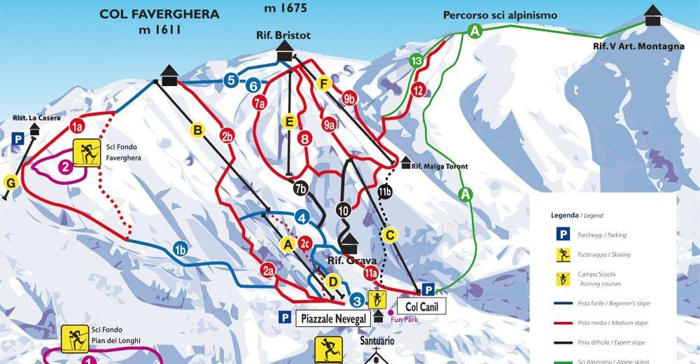 Pistplan Skidområde Alpe del Nevegal - Col Visentin