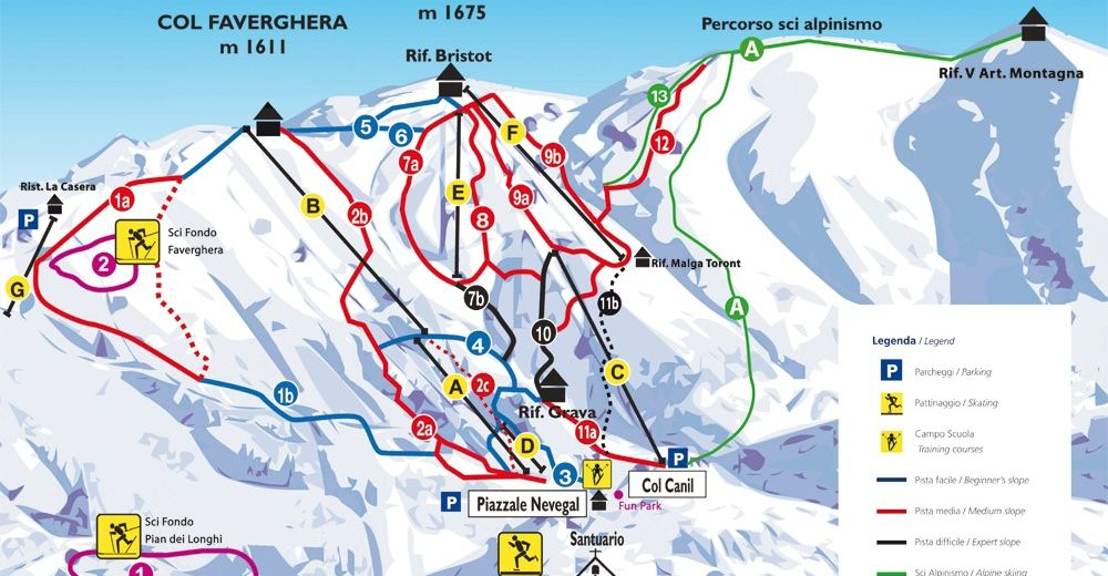 Pistenplan Skigebiet Alpe del Nevegal - Col Visentin