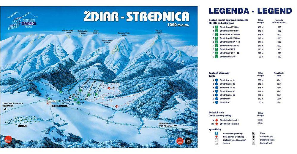 Pistenplan Skigebiet Skicentrum Strednica - Ždiar