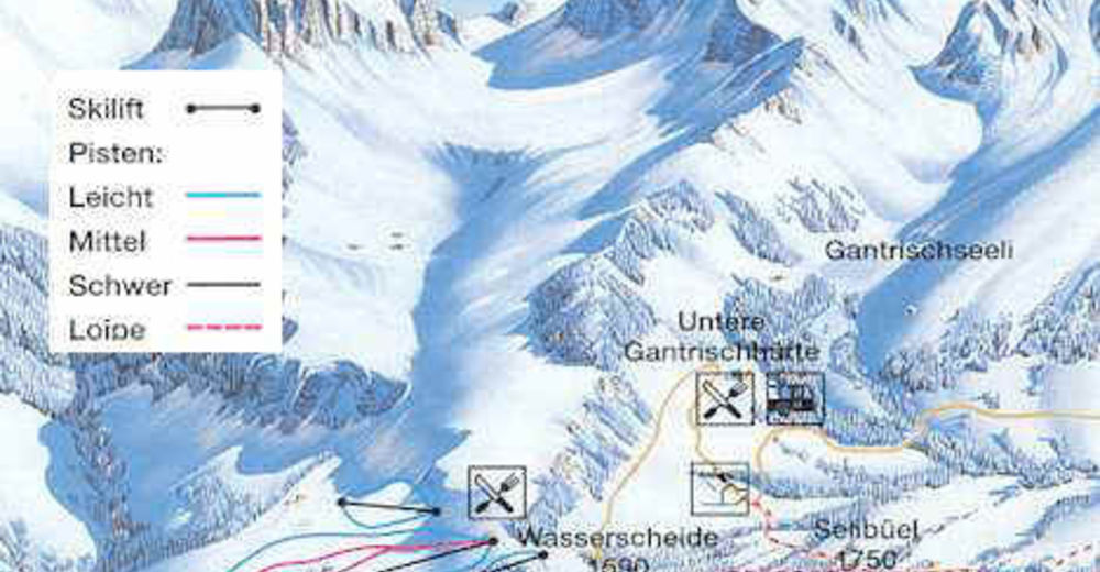 Pistenplan Skigebiet Gantrisch - Gurnigel