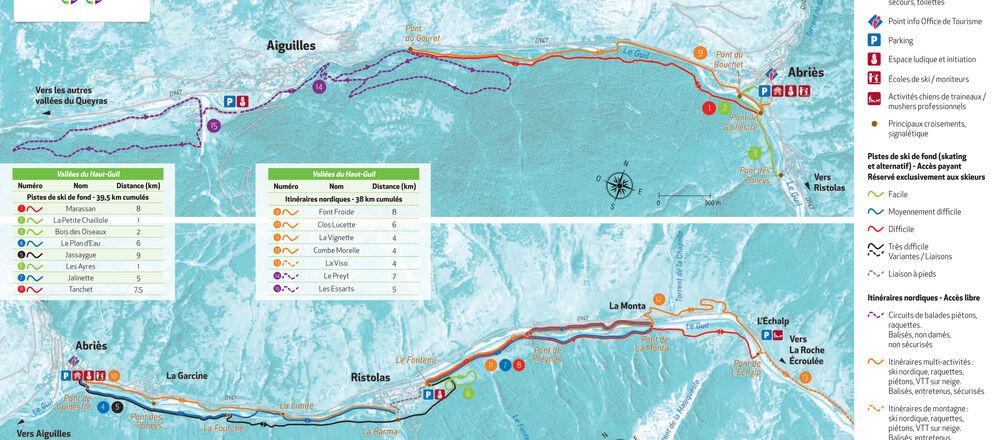 Loipenplan Abriès / Ristolas - Vallée du Haut Guil