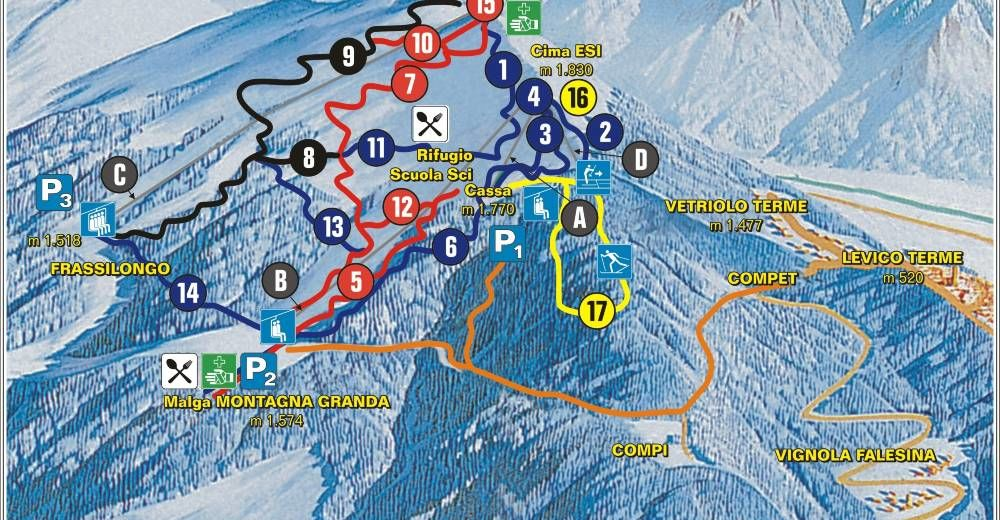 Plan skijaških staza Skijaško područje Panarotta 2002 - Valsugana