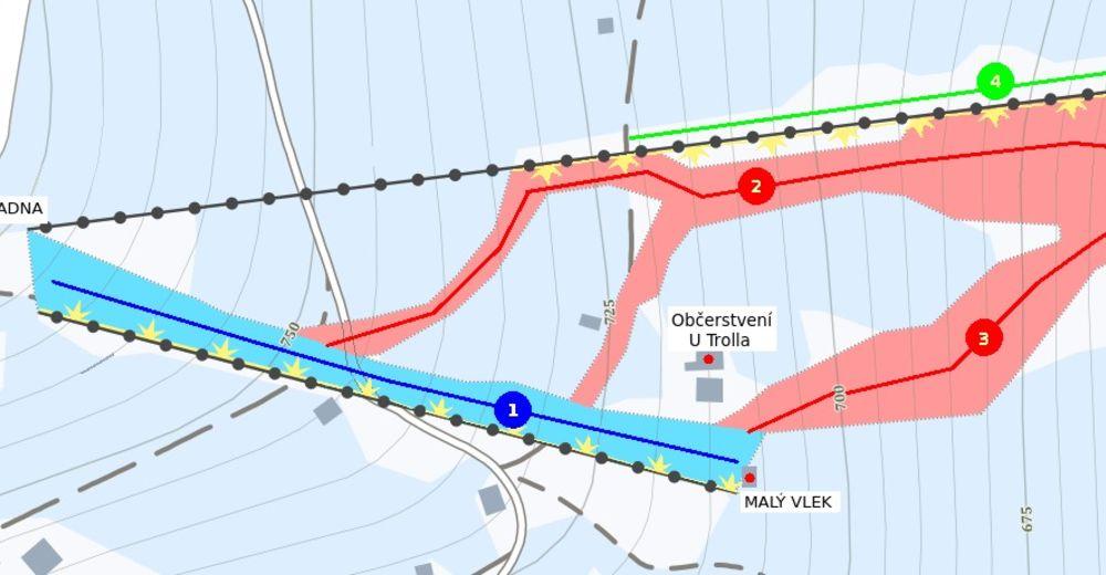 Plán sjezdovky Lyžařská oblast Alšovka Měděnec