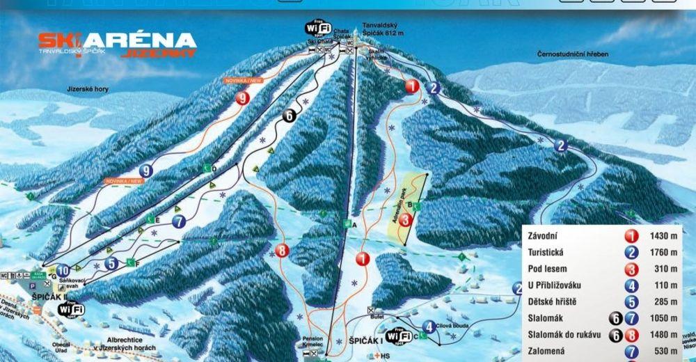 Planul pistelor Zonă de schi Tanvaldský Špičák / Jizerky