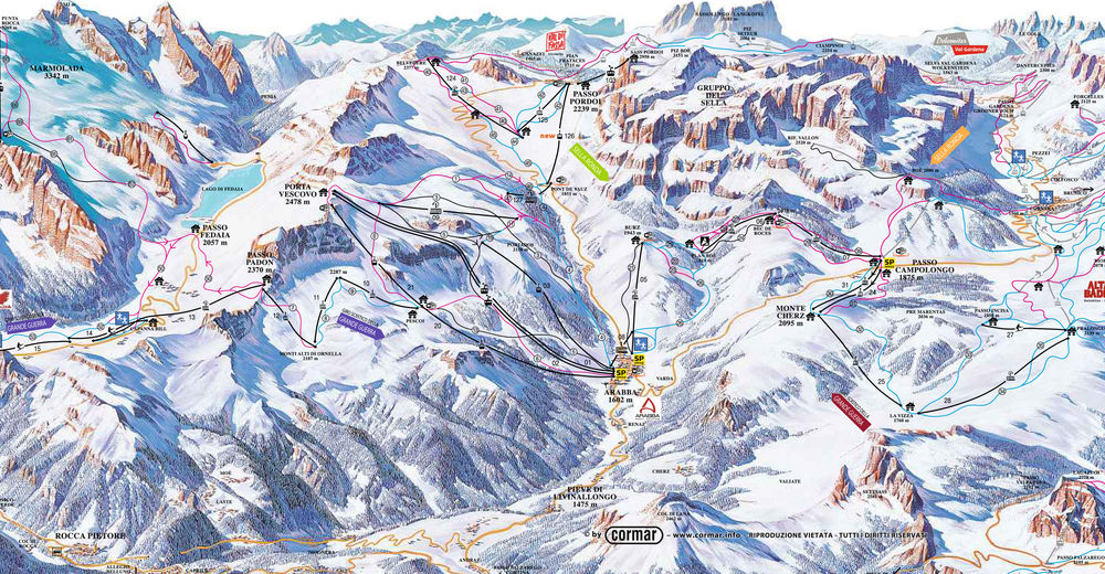Pisteplan Skiområde Arabba