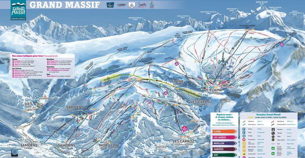 Plan skijaških staza Skijaško područje Morillon - Le Grand Massif