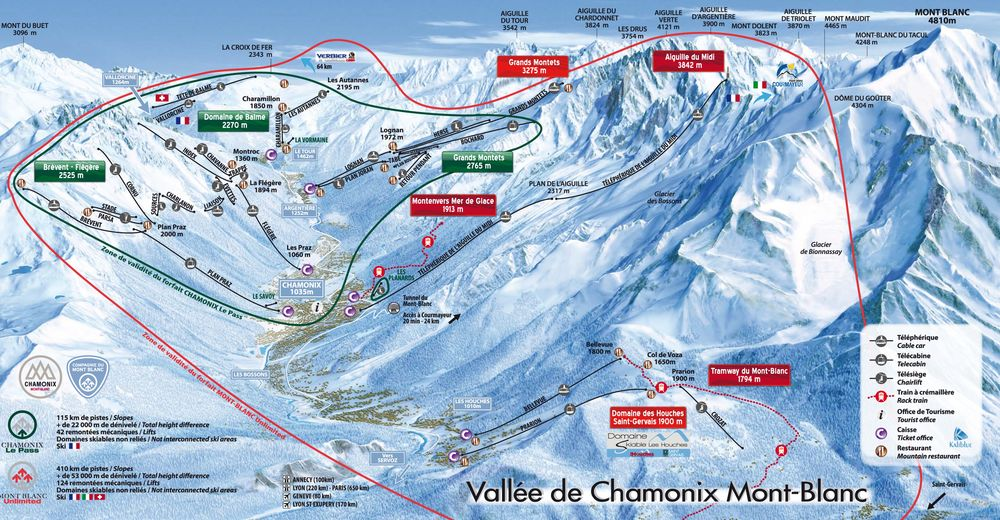 Piste map Ski resort Chamonix Mont-Blanc