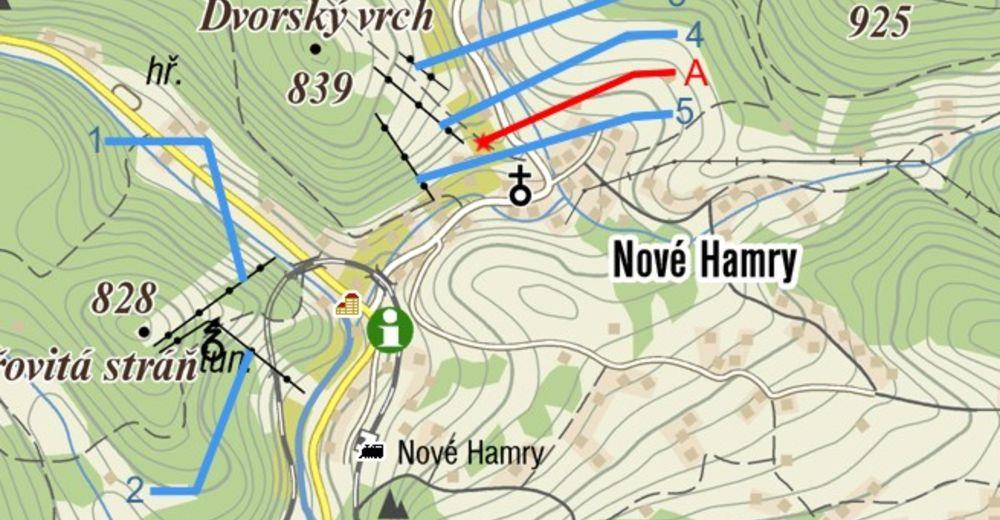 Pisteplan Skiområde Nové Hamry