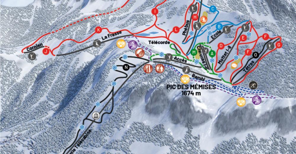 Plan skijaških staza Skijaško područje Thollon les Mémises